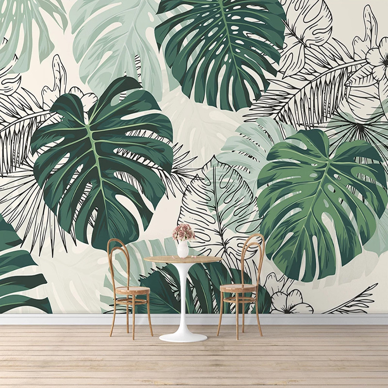 Self-Adhesive Wallpaper Modern Tropical Plant Photo Wall Murals Living Room Bedroom Waterproof Canvas Home Decor Papel De Parede