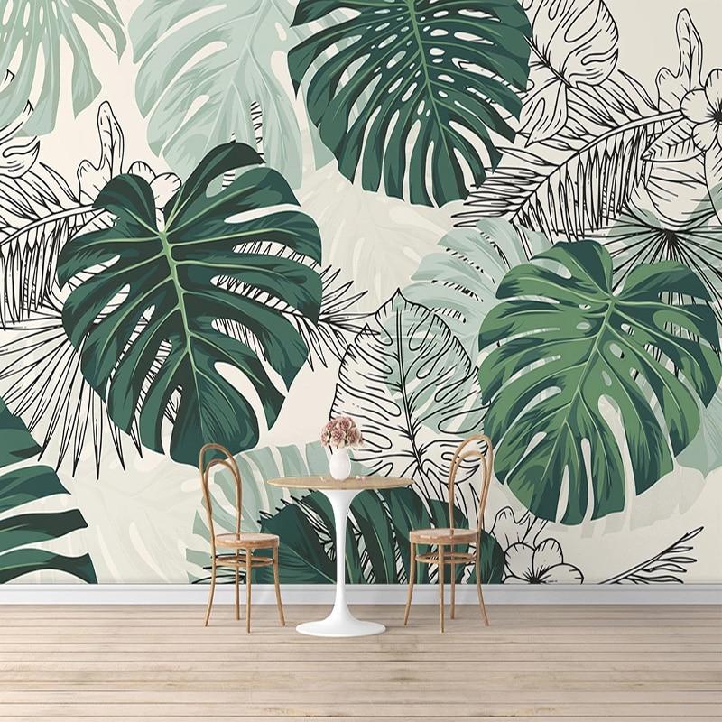 Self-Adhesive Wallpaper Modern Tropical Plant Photo Wall Murals Living Room Bedroom Waterproof Canvas Home Decor Papel De Parede