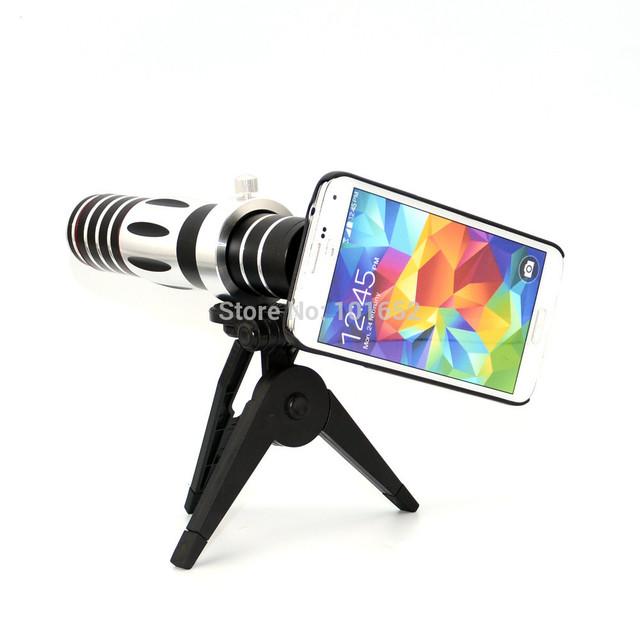 O envio gratuito de telefone móvel 5x-15x zoom óptico lente do telescópio câmera tripé com case para samsung galaxy s5 cl-74