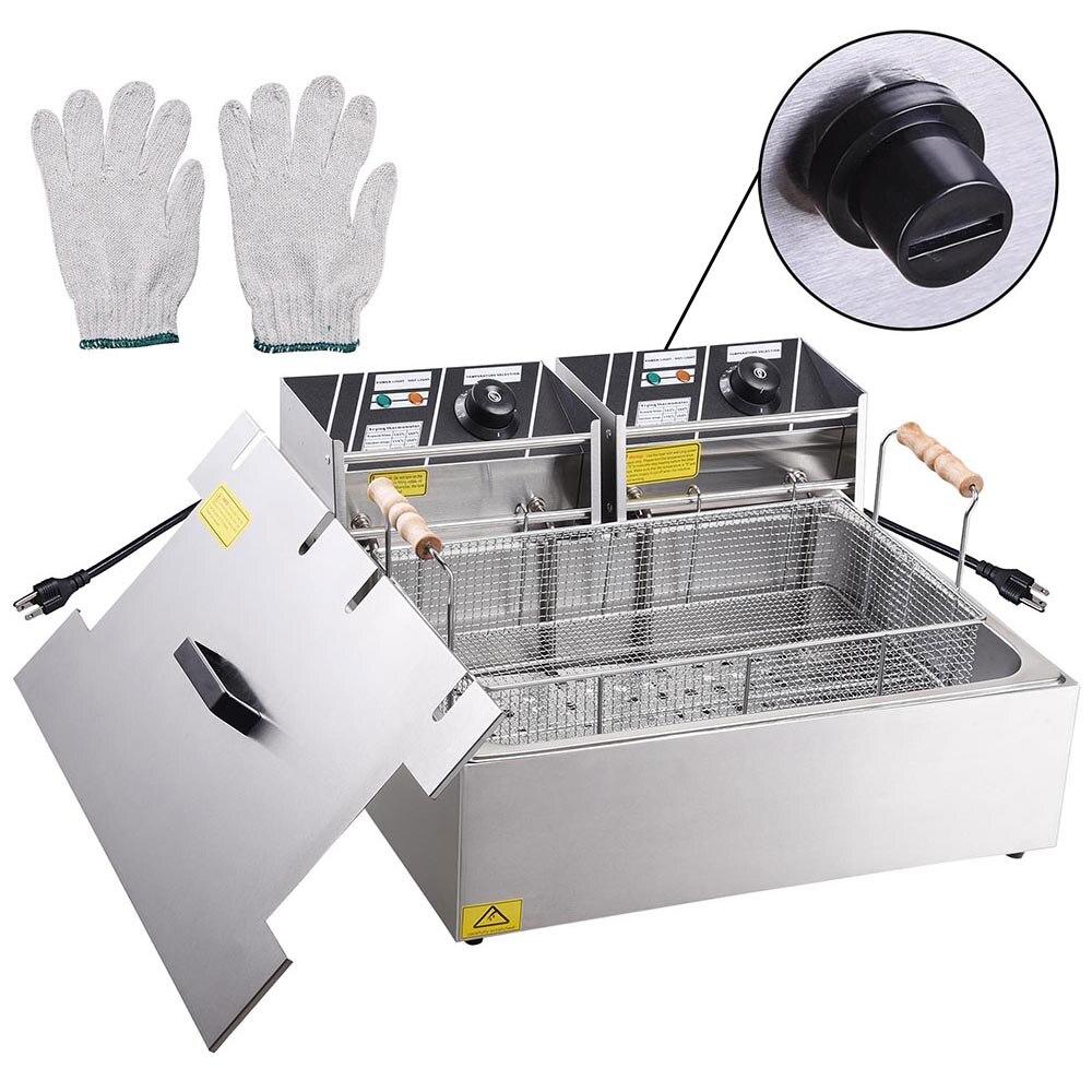 Comercial 5000 W 20L Bancada Fritadeira Elétrica Em Aço Inoxidável Único Tanque Grande Cesta de Restaurante