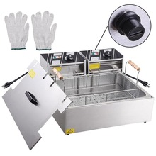 Commercial 5000W 20L Electric Countertop Deep Fryer Stainless Steel Single Large Tank Basket Restaurant