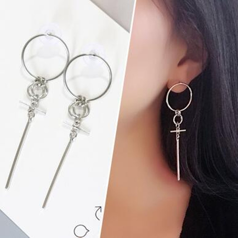 1pcs Fashion Jewelry Korean Brinco Bangtan Boys Album V DNA Stud Earring For Women Men Vintage Long Tassel Geometric BTS Earring