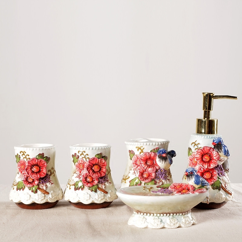 Chinese fine ceramicBathroom peach fan fan magpie rhododendron European new Chinese bathroom wash sets home wedding gifts