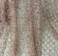 Naked pink beaded bronzing ironing network sequin mesh fabric clothing dress children's clothing designer fabric CA113