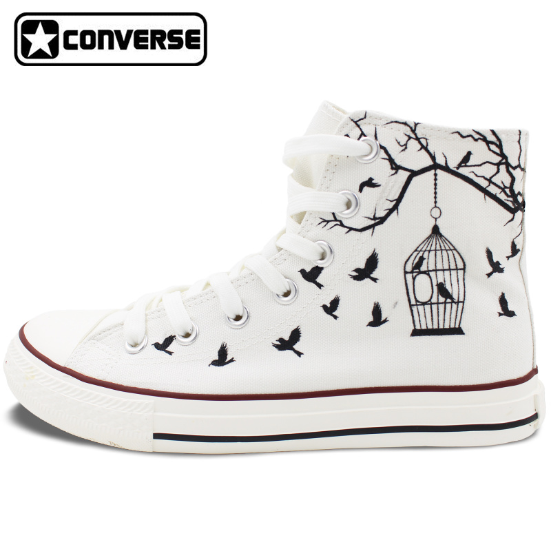 White Converse All Star Hand Painted Canvas font b Shoes b font Women font b Men