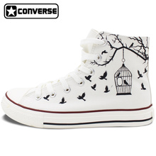 White Converse All Star Hand Painted Canvas Shoes Women Men Design Bird Cage Sneakers Flats High Top Gifts Presents