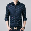 New Arrivals England Style Spring/Autumn Camisa Masculina Men Silm Fit Arrow Polka Dot Long Sleeve Shirt