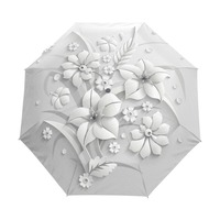 Full Autumatic 3D Flora Guarda Chuva White Chinese Sun Umbrella 3 Folding Umbrella Rain Women Anti