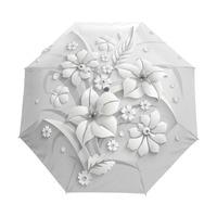 Full Autumatic 3D Flora Guarda Chuva White Chinese Sun Umbrella 3 Folding Umbrella Rain Women Anti