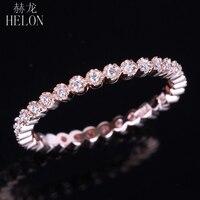 HELON Diamonds Band Solid 10K Rose Gold Milgrain Bezel 0.15ct Natural Diamond Engagement Wedding Ring Fine Jewelry Women's