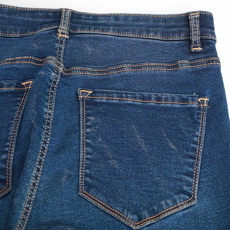 秋冬女性デニムスキニーパンツスーパーストレッチ偽フロントポケットウエストブルーグレースリム弾性女性のジーンズ