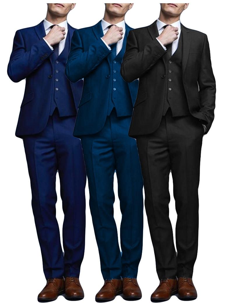 3 Piece 2019 Casual Men Suits Slim Fit Wedding Suits For Men High Street Blazer Custom Business Tuxedo Suit Men Costume Homme
