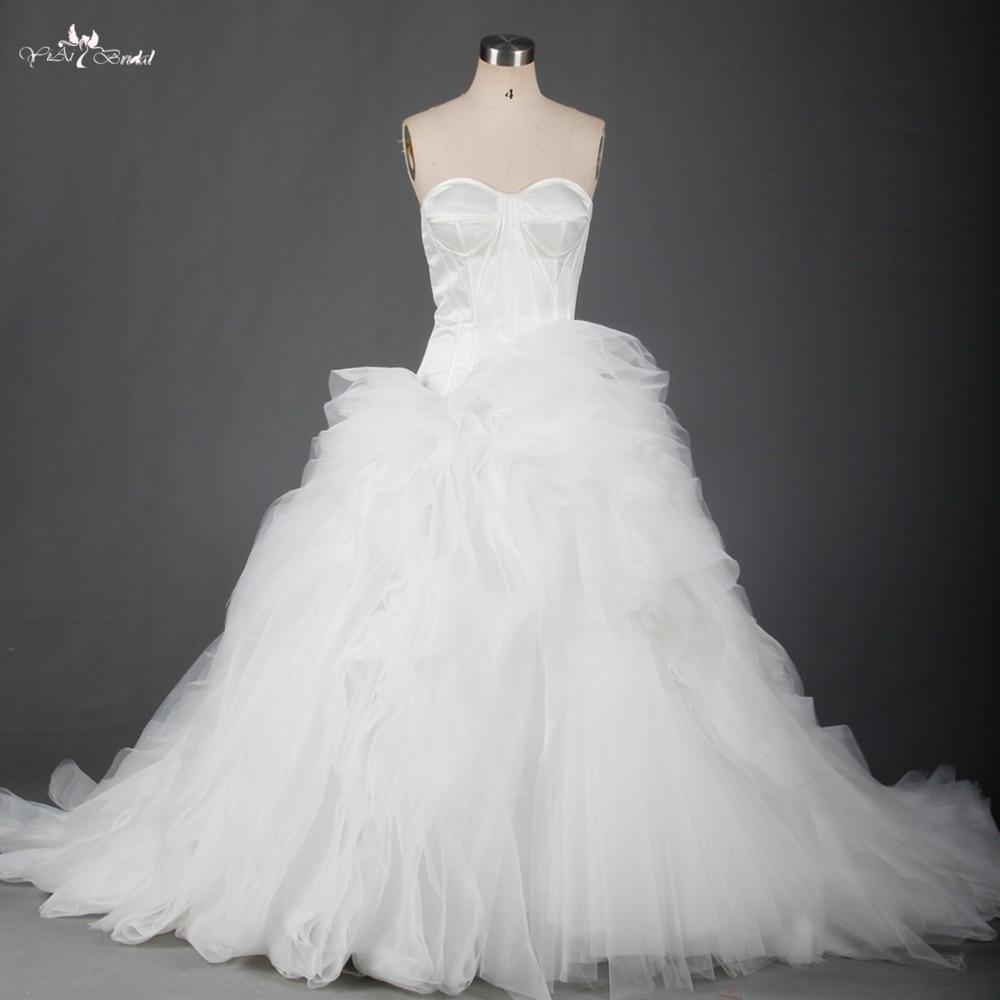 Organza Wedding Dresses With Ruffled Organza Bottom In Stock RSW701