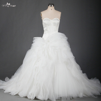 Organza Wedding Dresses With Ruffled Organza Bottom In Stock RSW701