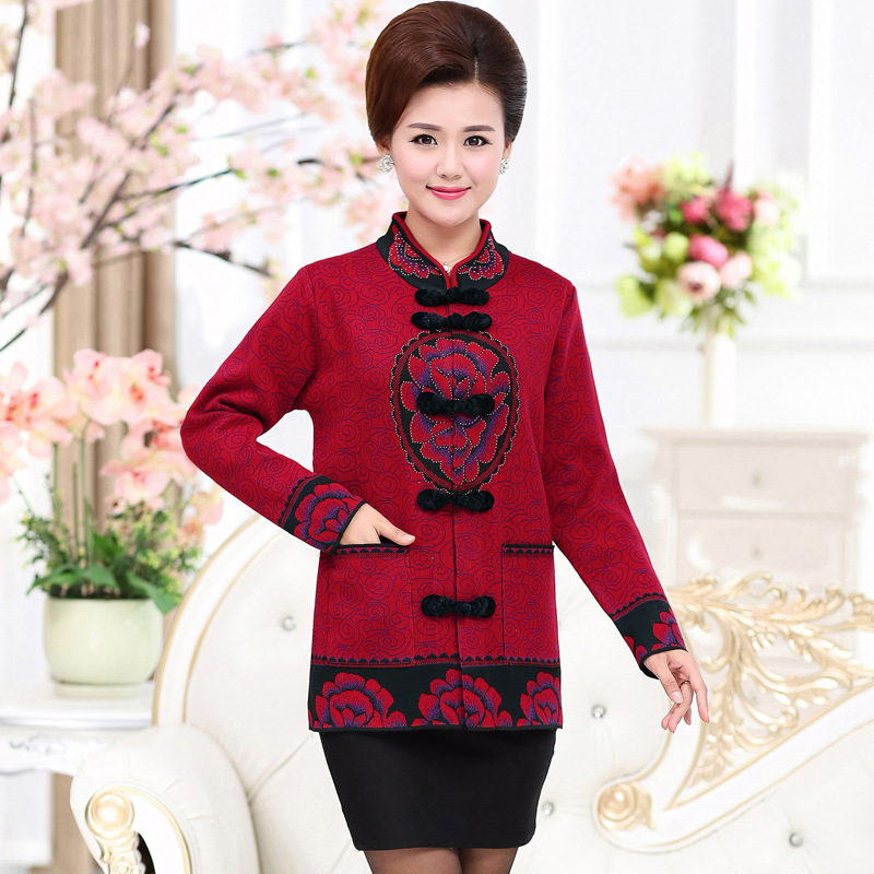 NIFULLAN Middle Aged Mother Sweaters Grandma Wear Plus Size Tang Costumes Thick Women Cardigan Coat Long Sleeve Knitwear Top