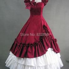 Красный и Белый Милая Хлопок Викторианской Платье/Викторианской Костюм/Викторианской Платье