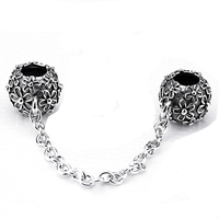 100 925 Sterling Silver Double Pan DIY Handwork Charm Beads Flowers Fit Women Bracelet Safety Chain