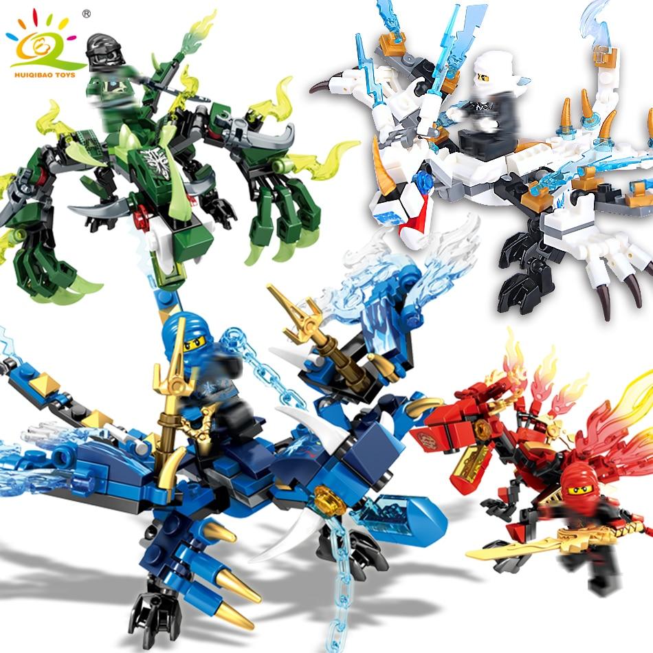 3-4/set Ninjagoes dragón construcción bloques Compatible Legoing Ninja ladrillos Mini acción KAI JAY cifras ilumine Juguetes para los niños
