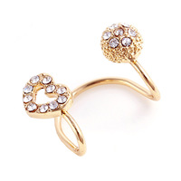 Fashion Heart & Round Shape Alloy Gold Silver Fine Jewelry With Imitate Crystal Decoration Stud Earrings For Women E1402 E1403