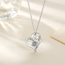 EUDORA 925 Sterling Silver I Love You Three Thousand Heart Necklace Jewelry CZ Pendant Women carved design exquisite gift  D38