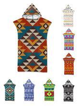 Free shipping Novelty Gift Aztec Ethnic Bohemian Geometric Pattern Large Adult Poncho Hooded Swim Pool Bath Beach Towel