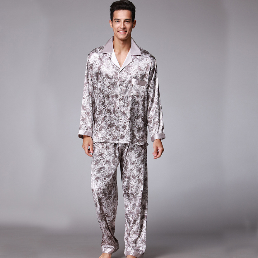 5316c184fc PS003 Autumn Spring Full Sleeves Pajamas Male Satin Silk 2 Pieces Pajama  Sets Printed Men Pyjama Soft Silky Sleepwear Nightwear