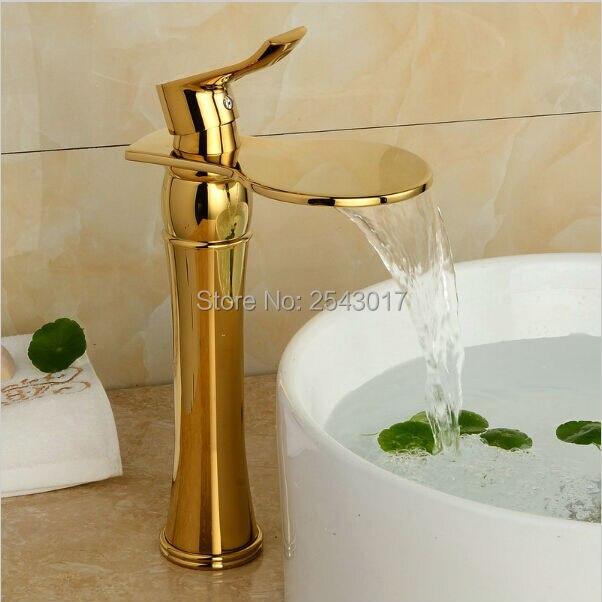 Недавно золото Цвет Водопад кран высотой Ванная комната кран бассейна смесителя горячей и холодной раковина кран Палуба Гора zr461