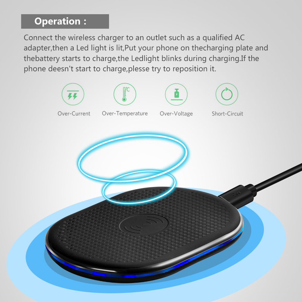 Marjay 5V 2A Wireless Charger for Samsung Galaxy S8 S9 S7 USB Qi Wireless Charger for iPhone 8 X 8 Plus Wireless Charging Pad (4)