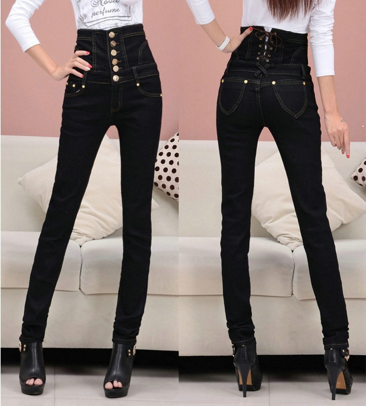 Slim High Waist Jeans Women Plus Size Denim Trousers Casual Single Breasted Bodycon Pencil Elastic Jeans Black DTY04