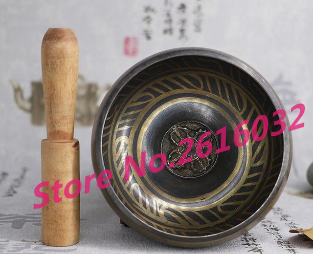 95mm Collectibles pretty Superb Tibetan OM Ring Gong YOGA Singing Bowl Antique Garden Decoration 100% real Tibetan Silver Brass