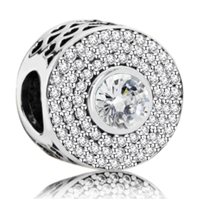 New Original Free Shipping full Clear CZ bead Fit European Pandora charms Bracelet Necklace bangle DIY Women Jewelry Trinket