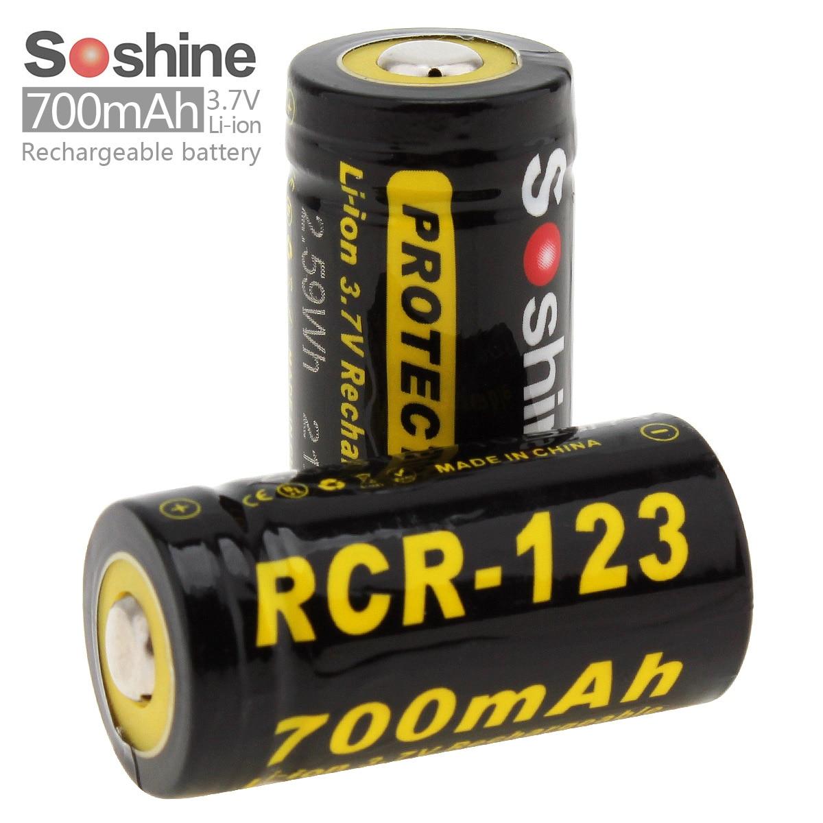 2pcs soshine li ion rcr123 battery 700mah 3 7v protected. Black Bedroom Furniture Sets. Home Design Ideas