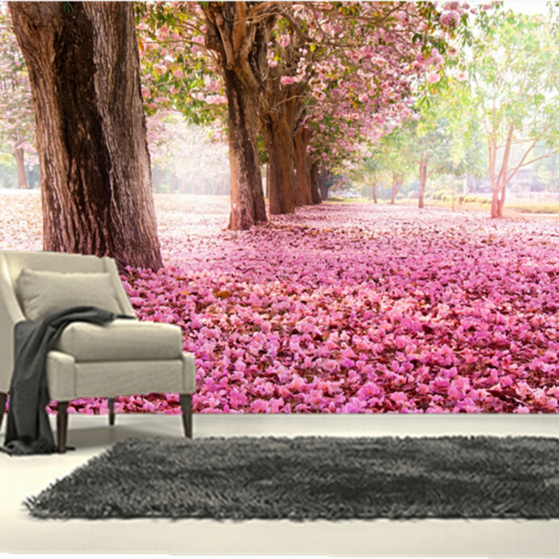 The  custom 3D murals,3d beautiful scenery pink flower covered path , the living room sofa TV wall bedroom background wall paper the inventor s apprentice pick your path 2