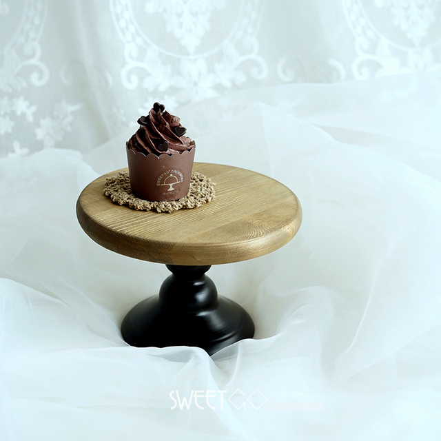 SWEETGO 6 inch Wood cake stand wedding cake tools fondant art plate for party home decoration & SWEETGO 6 inch Wood cake stand wedding cake tools fondant art plate ...