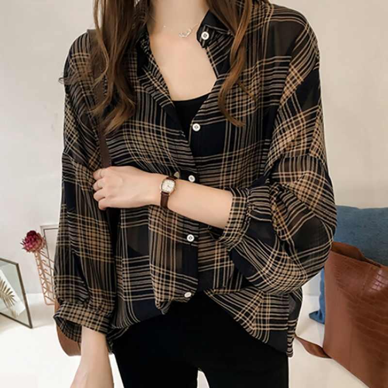 Tay Cánh Dơi Áo Voan Sang Trọng Kẻ Sọc Áo Sơ Mi Nữ Mùa Thu Thường Ngày Chemise Femme Áo Tartan Blusas Mujer Plus Kích Thước
