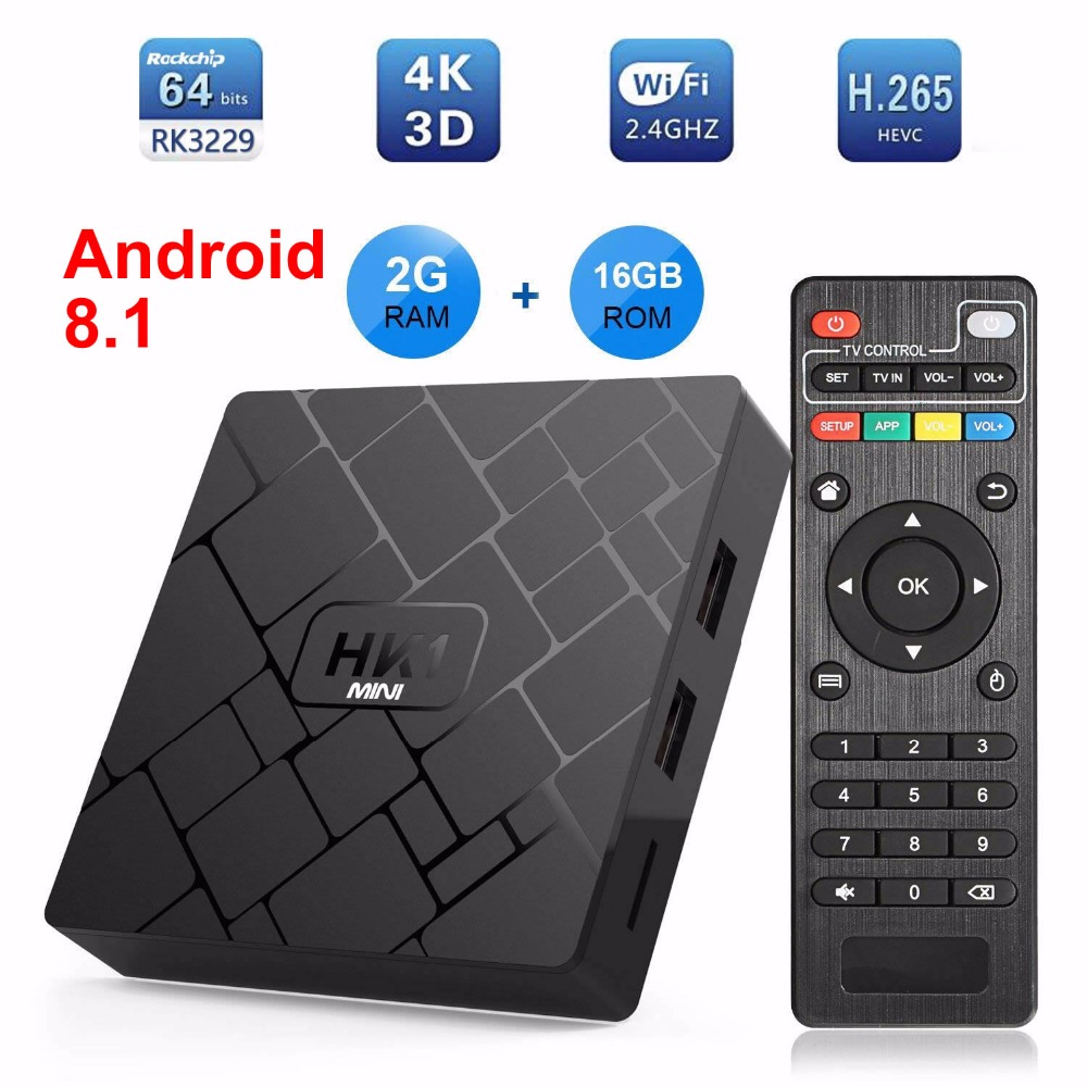 HK1 MINI Smart TV BOX Android 8.1 Rockchip RK3229 Quad core 2GB Ram 16G Rom H.265 4K Media Player TV Sep-Top Box PK X96 MINI TX3