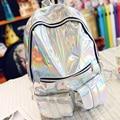 Sac a dos mochila masculina mulheres mochila holográfica holograma laser prata back pack bolsa de couro dos homens mochila