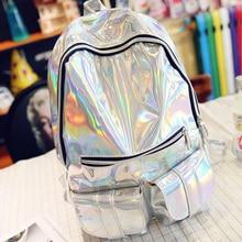 Sac a dos mochila masculina rucksack frauen silber hologramm laser back pack herrentasche leder holographische rucksack