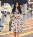 Primavera bonito mulheres dress impressão único breasted fique neck 2017 vestidos elásticos arroz branco 109