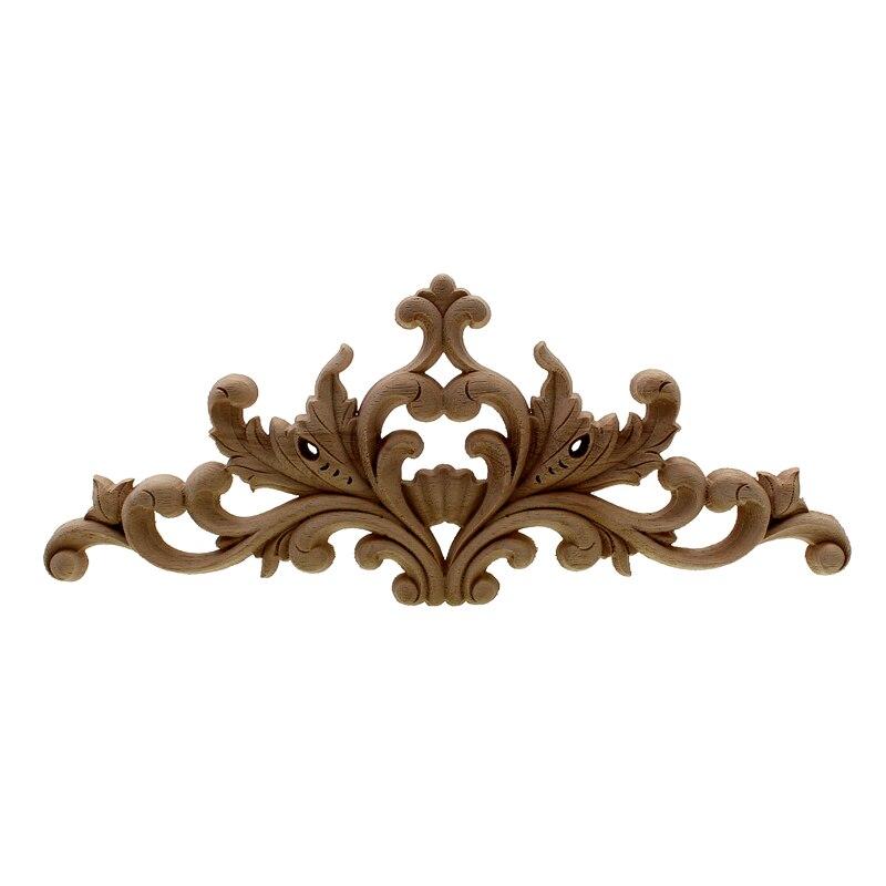 VZLX Applique en bois de style européen verticale tablette longue fleur pour porte de meubles accessoires de Maison Vintage Decoracion Hogar