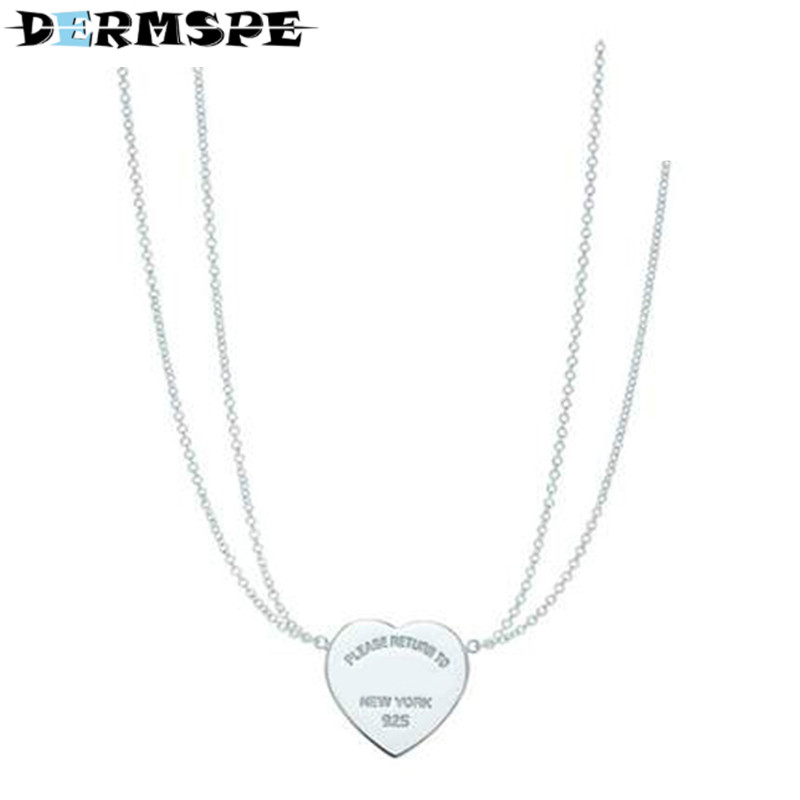 DERMSPE TIFF 925 Silver Jewelry Heart-Shaped Girl Pendant Necklace Ladies Clavicle Chain Gift Jewelry qiuboss 925 sterling silver silver heart shaped enamel pendant necklace charm women clavicle diy gift jewelry