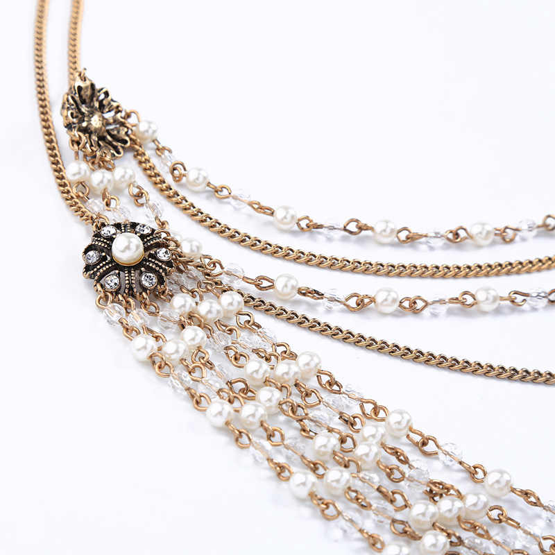 2019 Newest Vintage Gold color Exquisite Shoulder Necklace For Women Brides Sexy Crystal Body Fashion Jewelry Accessories In Box