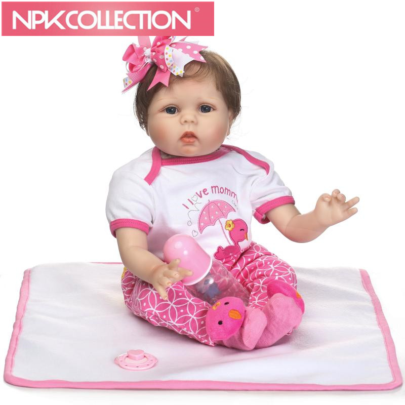 Cute 22inch 55cm Silicone baby reborn dolls, lifelike doll reborn babies toys for girl pink princess gift brinquedos for kids 18inch 45cm silicone baby reborn dolls lifelike doll reborn babies toys for girl princess gift brinquedos children s toys