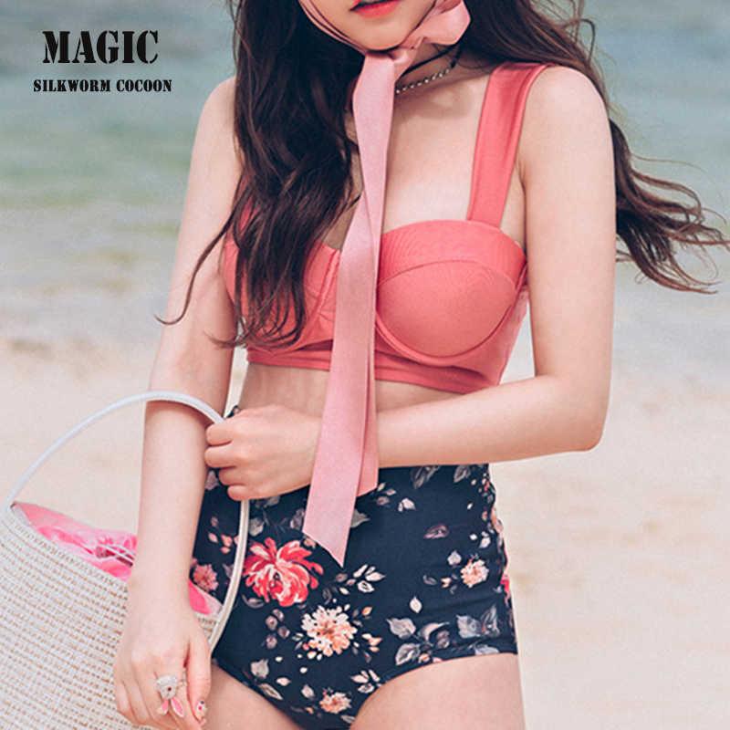 547bab4d21404 ... Bright Girl Korean Swimsuit Floral Print High Waist Swimwear Women New  Red Pink Cute Bikini Set ...