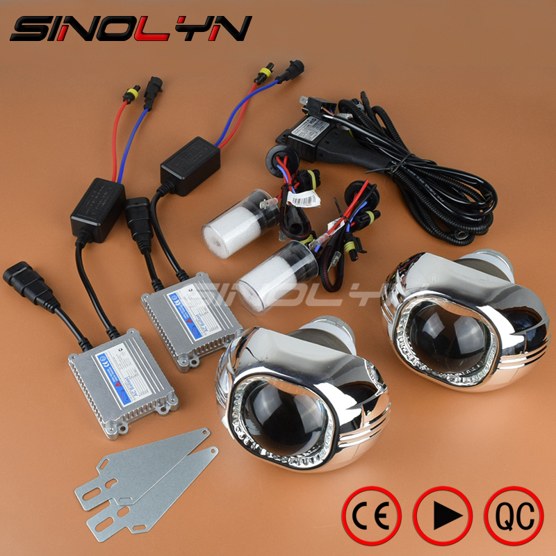 SINOLYN 35W 3.0 inch Bi-xenon Square Lens Projector HID Headlights,Full Metal Headlamp Glasses Lenses diy Kit Hi/Lo Car Styling