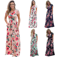Wuhaobo Short Sleeve Print Floral Pink Big Flower Long Maxi Dress Women Plus Size XXXL Boho