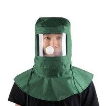 Защитная маска для рисования пылезащитный капюшон пескоструйная Защитная крышка для промышленных работ, шлифовки шлем для рабочего Холста материал зеленый