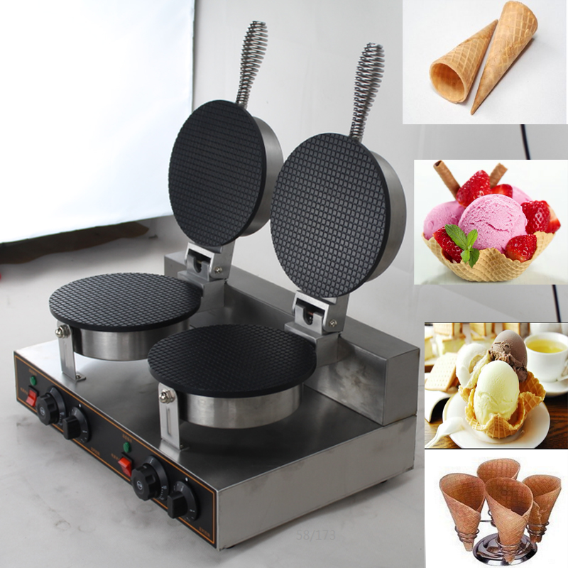 110V/220V double head ice cream cone maker waffle cone machine waffle cone maker factory price ice cream waffle cone maker round egg roll waffle maker waffle making machine