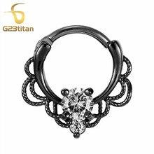 G23titan CZ Nose Rings Septum Clicker 16G G23 Titanium