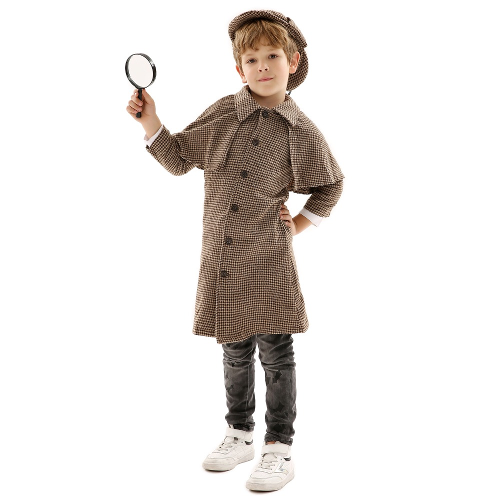 Detective Uniform for Children Cosplay Costume Role-Play for Theme Party/Halloween or Stage Performance with Hat